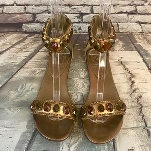 Vince Camuto Golden Metallic Large Stone Sandals